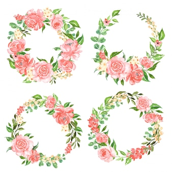 Beautiful rose pink watercolor set of flower wreath