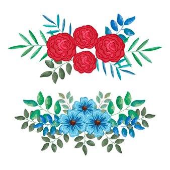 美しいバラと葉の装飾