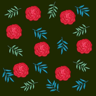 Beautiful roses and leafs decorative pattern
