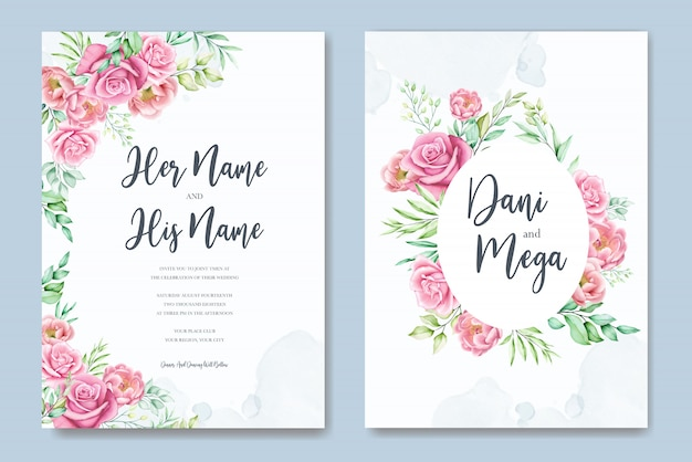 아름다운 장미와 모란 웨딩 카드 템플릿