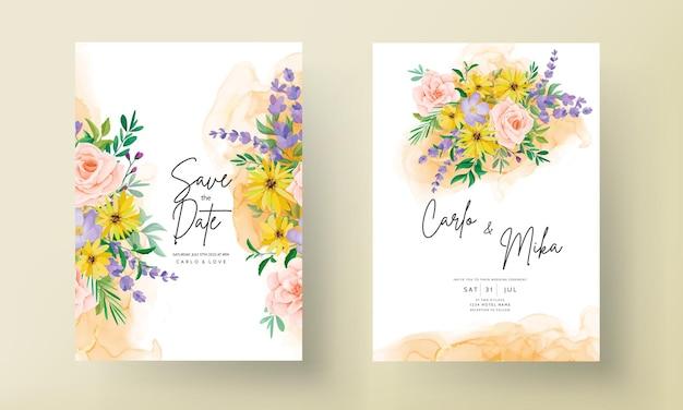아름다운 장미와 야생화 청첩장