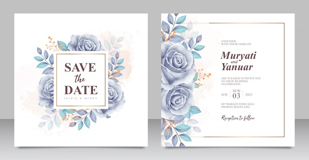 Beautiful roses blue watercolor wedding invitation card template