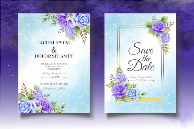 아름 다운 장미 꽃 초대 카드 서식 파일