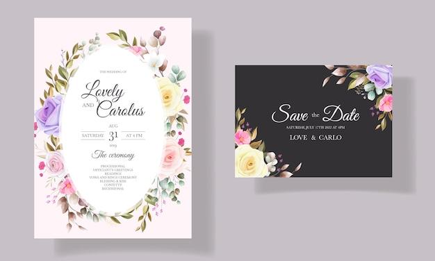 美しいバラの花の招待カードのテンプレートデザイン