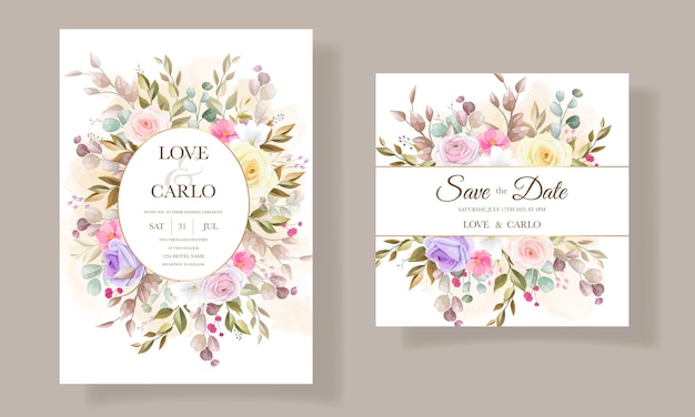 Beautiful roses flower invitation card template designs
