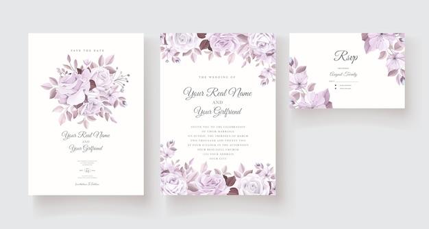 Шаблон приглашения красивые розы