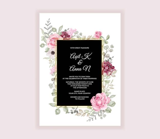美しいバラの水彩招待カードテンプレート