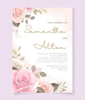 美しいバラの結婚式の招待カードのテンプレート