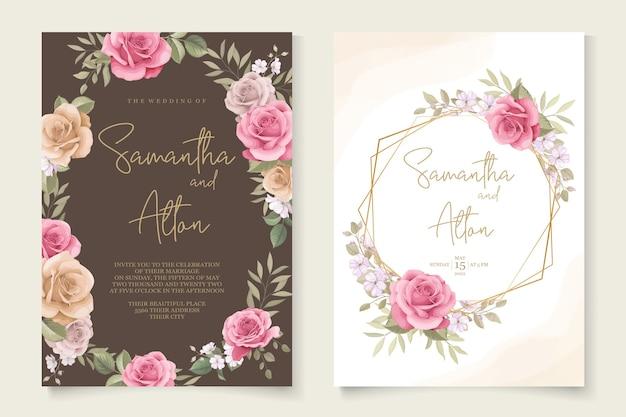 아름다운 장미 결혼식 초대 카드 템플릿