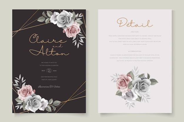 Шаблон свадебного приглашения красивые розы