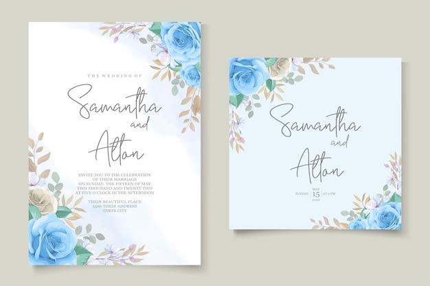 Шаблон свадебного приглашения красивые розы Premium векторы