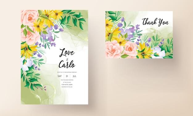 Beautiful roses and wildflowers wedding invitation card