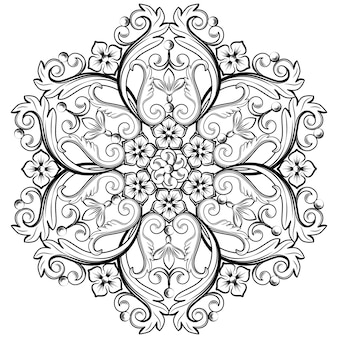 Beautiful round ornamental element for design in black and white colors.