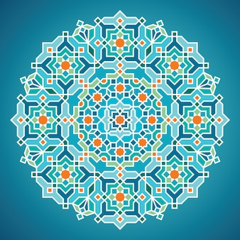 Beautiful round vector geometric arabic background ornament for greeting business card template
