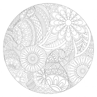 エスニックフローラルパターンと美しい丸いマンダラデザイン、本を着色するためのヴィンテージ装飾的な要素。