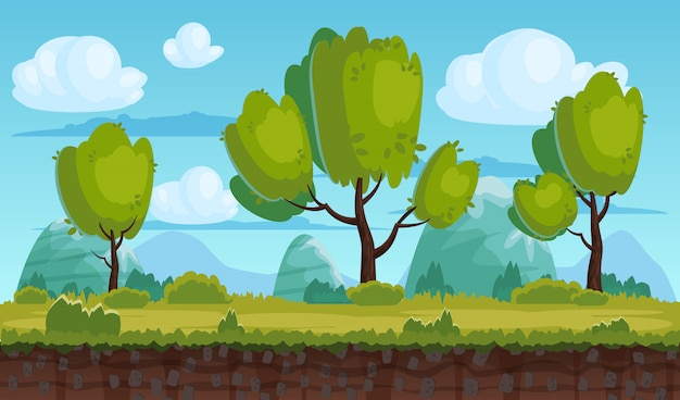 Beautiful rural landscape, fields, trees. background mountains, clouds. for games, applications, animations