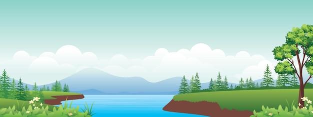 아름다운 시골 풍경, 호수가있는 고원