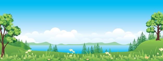 美しい田園風景、湖のある高地
