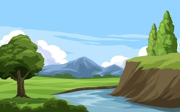山と川のある美しい田園風景