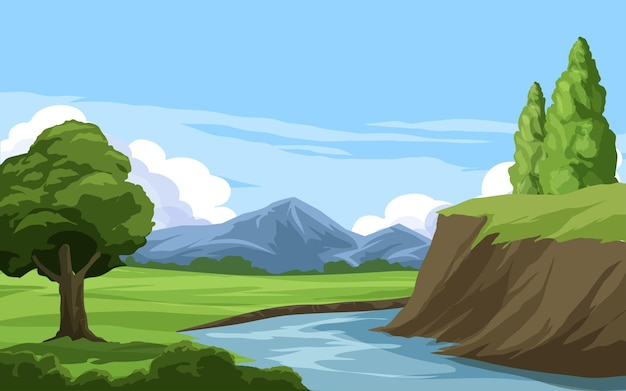 Beautiful rural landscape with mountain and river
