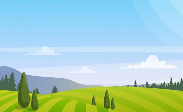 Красивый сельский пейзаж с деревьями на поле, красочный летний пейзаж сельской местности в плоском стиле.