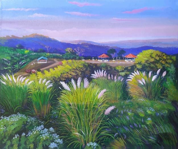 美しいサトウキビ属spontaneum、アクリル絵の具のカシフルで山の景色の自然絵画の風景