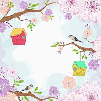 Beautiful sakura flowers branch