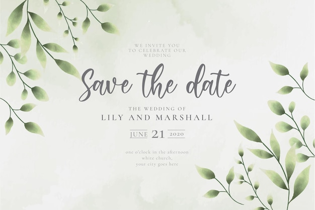 Beautiful save the date wedding background with watercolor leaves