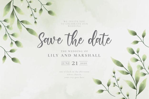 Bellissimo sfondo di matrimonio salva la data con foglie di acquerello