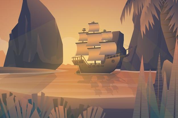 Красивая сцена бросила якорь галеон, плавающий в море острова. окруженный скалами, морской пейзаж, природа, бухта, иллюстрация