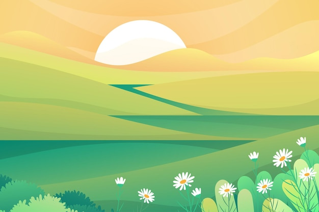 Beautiful scene of nature with sun rising over mountrain in the morning, lanscape  illustration