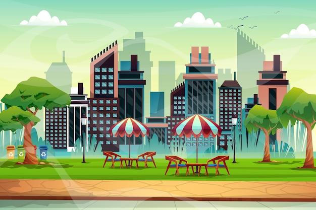 자연 공원에 우산이 있는 의자 아나 테이블의 아름다운 장면