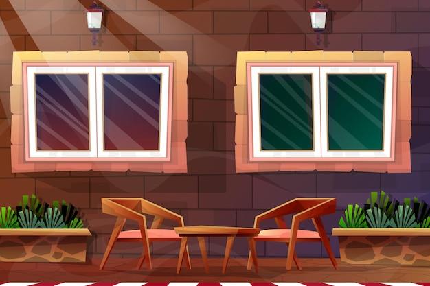 만화 스타일의 집에서 조명이 있는 램프와 커피 테이블이 있는 나무 의자가 있는 아름다운 장면