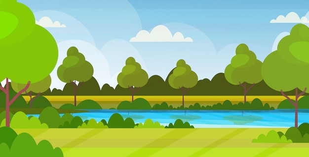 Beautiful scenery in nature of river with trees around summer landscape background flat horizontal