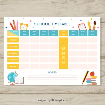 Beautiful school timetable template
