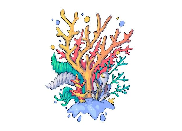 美しい海の珊瑚。創造的な漫画のイラスト。