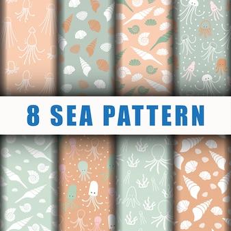 Beautiful sea pattern set