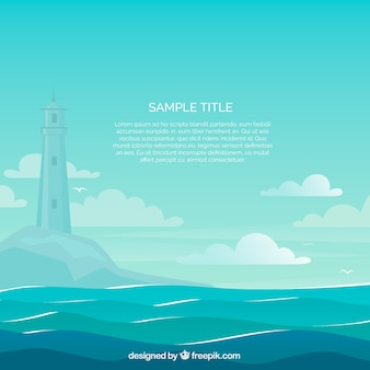 Beautiful sea scene with lighthouse background