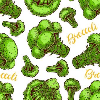 Красивый бесшовный фон из различных красочных брокколи. рисованная иллюстрация