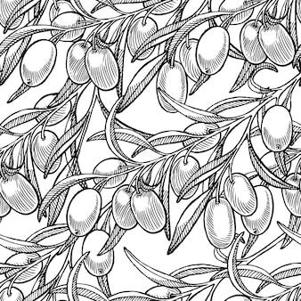 ブラックオリーブ手描きの枝の美しいシームレスな背景