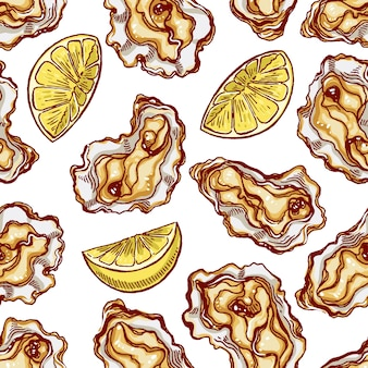 レモンスライスとカキの美しいシームレスな背景。手描きイラスト