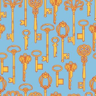 Красивый бесшовный фон из оранжевых старинных ключей на синем фоне. рисованная иллюстрация
