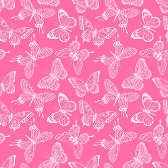 스케치 핑크 나비의 아름 다운 완벽 한 배경입니다. 손으로 그린 그림