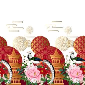 꽃이 만발한 벚꽃, 자두, 데이지가 있는 모란 나뭇가지에 앉아 있는 다이아몬드 꿩과 함께 아름다운 매끄러운 국경 중국 스타일의 여름 드레스
