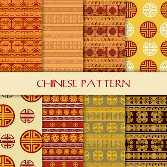 Beautiful seamless chinese pattern set background