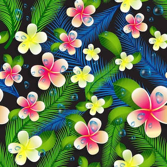 Beautiful seamless floral jungle pattern background.