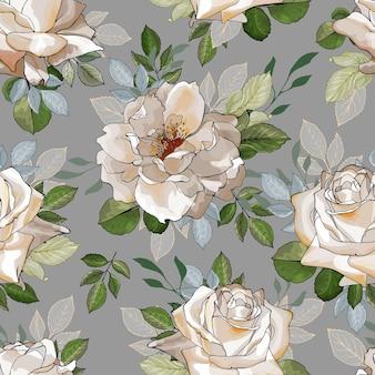 Красивый бесшовный цветочный узор с цветами кремовых роз.