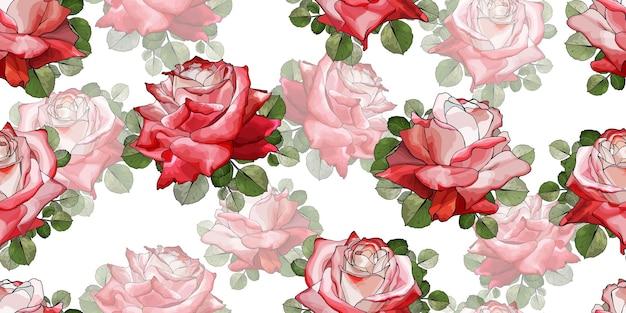Красивый бесшовный цветочный узор с цветами красных роз.