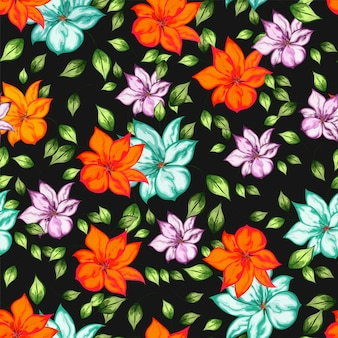 Beautiful seamless floral pattern with watercolor effect.