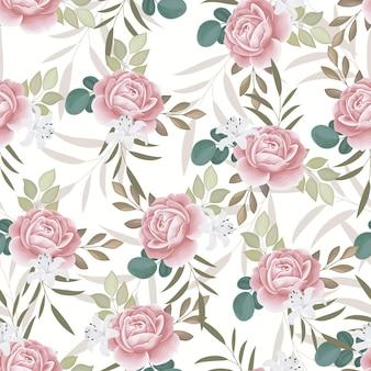 美しいシームレスパターン美しい花と葉